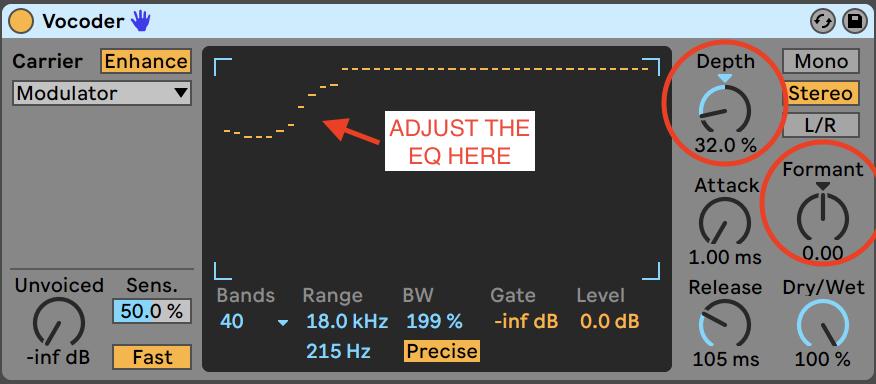 Vocoder settings for vocals