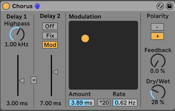 Chorus effect settings