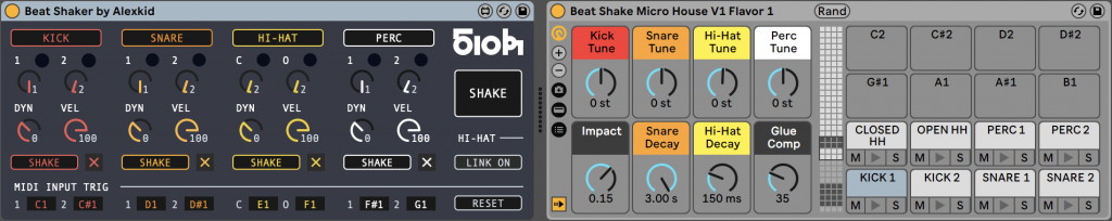 micro house drums with beatshaker