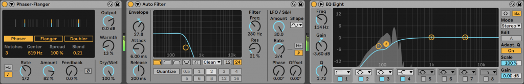 effects chain for percussive backgrounds